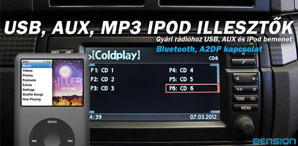USB/AUX/MP3/iPod Illesztők
