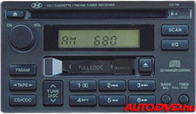 Hyundai 8 Pin CD tár csatlakozós 2 DIN (1998-2005)